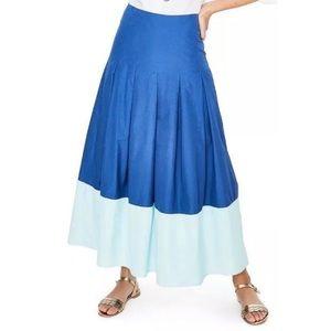 Boden Riviera Blue Color-block Midi Skirt